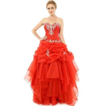 Ball Gown Perfect Dresses Red Organza Crystals Fashion Gowns