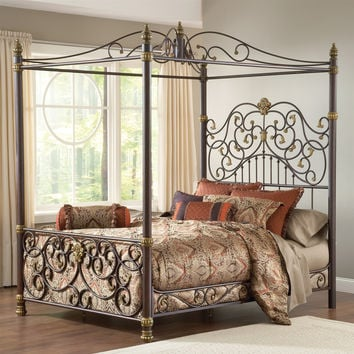 Queen size Metal Canopy Bed with Posts and Intricate Scroll Work