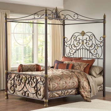 King size Metal Canopy Bed with Posts and Intricate Scrolling Design