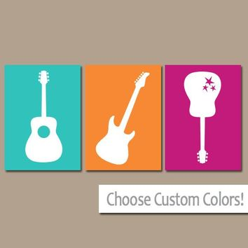 Girl GUITAR Wall Art, Music Theme Nursery Girl  CANVAS or Prints Music Art Rock N Roll Rock and Roll Set of 3 Girl Nursery, Gift for Girl