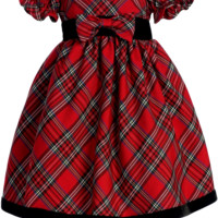 Red & Green Plaid Girls Holiday Dress w. Ruffle Sleeves 3m-4T