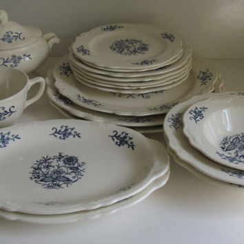 18 pc Dresden Blue and White Dish Set Dinnerware set Heritage Homer Laughlin china Imp & 18 pc Dresden Blue and White Dish Set from ReVintageLannie