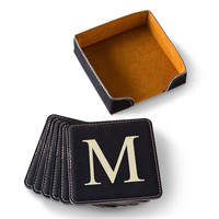 Personalized Black Square Leatherette Coaster Set