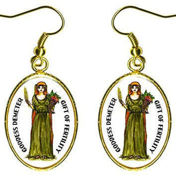 "Goddess Demeter Gift of Fertility 1"" Gold Earrings"