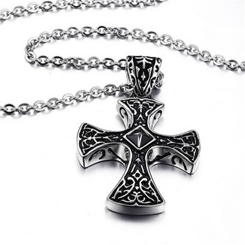 Mens Womens Handmade Old Silver Crucifix Cross Pendant Necklace Best Christmas Gift
