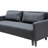 Large Black Cloth Modern Contemporary Upholstered Quality Sleeper Sofa Futon