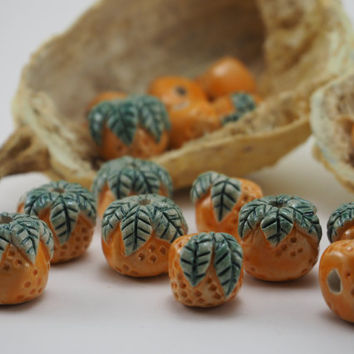 Handmade mandarin beads with leaves (15x15)   Handmade beads 3 mm hole size Ceramic beads Orange  beads Craft supplies Bead crafts