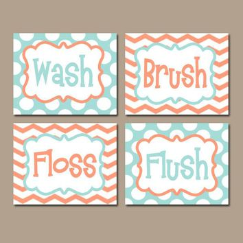 Wash Brush Floss Flush, Kid Bathroom Wall Art, CANVAS or Prints, Child Bathroom Rules, Aqua Coral Chevron Polka Dots, Shared Bath, Set of 4