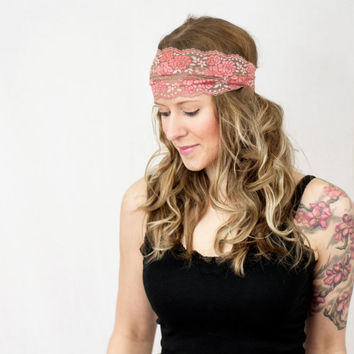 Coral Lace Headband Wide Pink Tan Stretch Rose Womens Hair band Accessory Head wrap Bridal Head Band