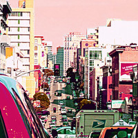 "San Francisco Photo. City Photo. ""Hustle and Bustle""  Pink.  Purple. Silver. Urban. Modern. chic. girly. colorful. home decor"