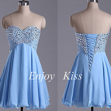 Short royal blue chiffon bridesmaid dresses,2015  new women dress for wedding party,cute beading sweetheart bridesmaid gowns under 100
