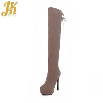 J&K 2017 Hot Sale Sexy Super High Heel Winter Boots On The Platform Over The Knee Boot