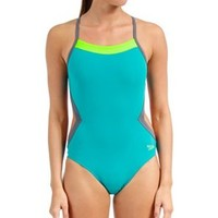 Speedo Flipturns Solid Colorblock One Piece Swimsuit at SwimOutlet.com - Free Shipping