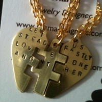 Let us steadfastly love one another Puzzle Pendant best friends forever