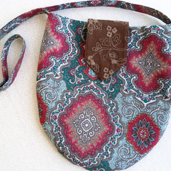 One of a kind Bohemian bag by Boho Rain/ teal and tan paisley purse/ upcycled fabric hippie bag