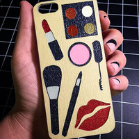HANDMADE Makeup GLITTER Case cover, I Love Make up! iPhone 4 4s 5 5s 5c  6 6 Plus  Samsung Android Phone Case cover Gift Mac mua Artist Lips