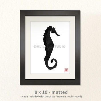Mother's Day Gift, Seahorse, Tropical Fish, Beach, Ocean, Sea, Ink Painting Print, Asian, Sumi-e, Wall Art, Home Decor, 5x7, 8x10, 11x14