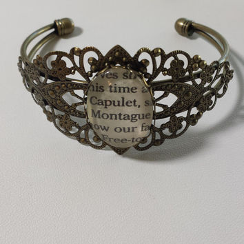 """Shakespeare Romeo and Juliet """"Capulet and Montague"""" Bracelet made using an Actual Book Page"""