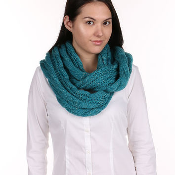 Teal And Gold Cable Knit Infinity Scarf