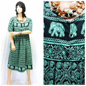 Vintage 80s hippie kaftan tunic dress S /M elephant print dress boho ethnic Indie caftan dress cotton muu muu dress SunnyBohoVintage