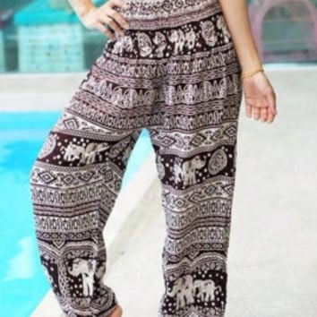Elephant Thai Harem Pants,Yoga Pants,Aladin Pants, Baggy Boho Style Hippie Gypsy  Clothing Beach Women Baggy Casual Women Pants CX001