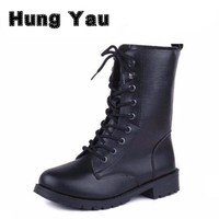 Women Lace Up Martin Boots Round Toe PU Leather Boots Shoes 2016 New Ladies Combat Military Ankle Motorcycle Boots Plus Size 42