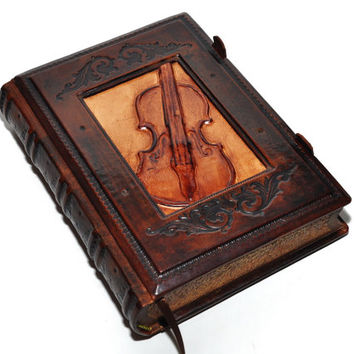 "Leather journal Vintage Violin 6.5""x9.1"" (16.5x23cm)"