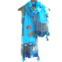 Blue scarf, Turquoise scarf, Designer accessories, Mother's day gift, Women fashion, Design blue shawl, Mother gift option, Lace blue scarf