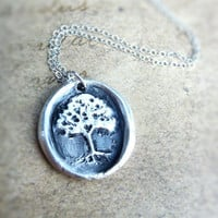 Wax seal necklace tree with hidden heart made from recycled fine silver