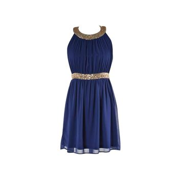 Navy Sequin Dress - Kely Clothing