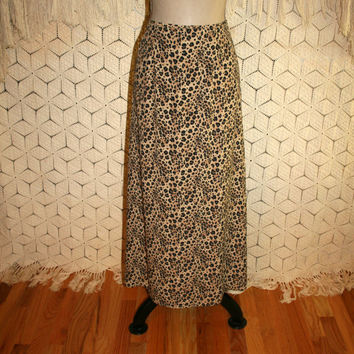 Long Animal Print Skirt Leopard Maxi Skirt Womens Small Size 4 Skirt A Line Skirt Viscose Rayon Skirt Black Brown Kasper Womens Clothing