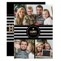 Modern Gold, Happy Holidays Photo Card