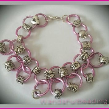 Pink Charm Chain Maille Bracelet