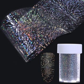 Hexagon Dot Heart Fireworks Laser Nail Foil 4*100cm Holographic Transfer Starry Sticker for Manicure Nail Art Decoration