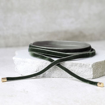 Welcome to My Layer Olive Green Velvet Wrap Necklace