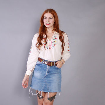 Vintage 70s Cotton TOP / 1970s EMBROIDERED White Cotton Floral Mexican Blouse