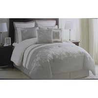 Essential Home Circle Scroll Embroidered Comforter Set