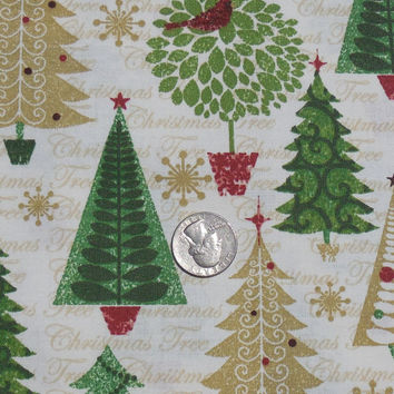 SALE, Cotton Fabric, Christmas Tree Glitz Trees and Topiarys, Quilting Fabric, AE Nathan, 100 % cotton fabric