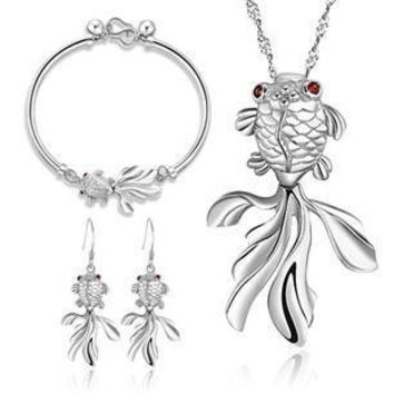 925 Sterling Silver Goldfish Jewelry Sets Drop Earrings Pendant Necklace Bracelets