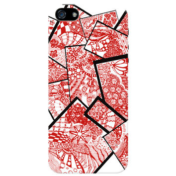 Cute Line Art Doodle Red iPhone 5/5S Case by Stuti