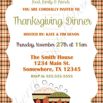 Plaid Thanksgiving Printable Invitation. Thanksgiving Dinner Invitation.  Fall Party Invitation.  Thanksgiving Potluck Invitation.