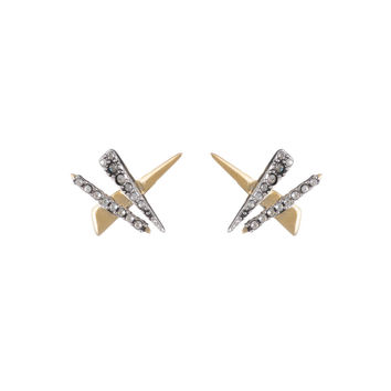 Crystal Encrusted Plaid Post Earring | Alexis Bittar