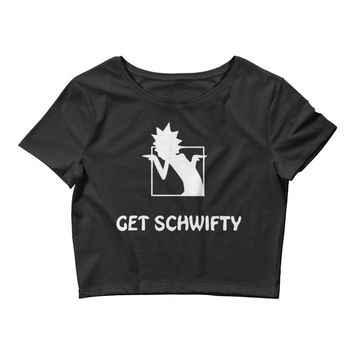 Get Schwifty Rick and Morty Poly-Cotton Blend Ladies' Crop Tee