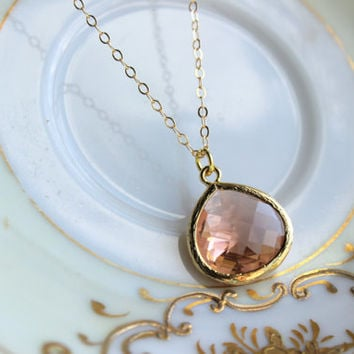 Large Peach Pink Necklace Champagne Blush Pendant Necklace Jewelry Gold Plated Wedding Jewelry - Blush Bridesmaid Jewelry - Bridal Necklace