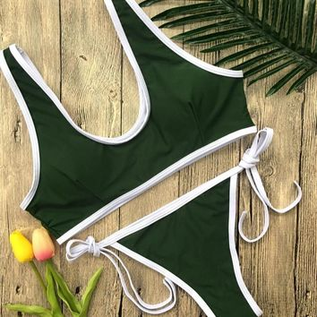 Sexy White Edge Vest Top Bottom Lace-Up Two Piece Bikini Swimsuit Green