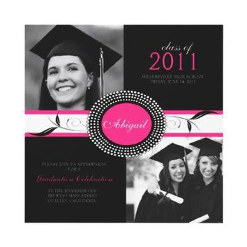 Graduation Party Invitations Hot Pink and Black from Zazzle.com