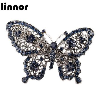 Linnor Vintage Blue Crystal Butterfly Hairpin Classical Headwear Barrette Rhinestone Hair Clip Jewelry for Women Accessories