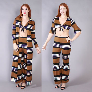 Vintage 60s 3 Piece Set / 1960s Striped Crop Top Bell Bottoms & Duster Jacket Ensemble XS