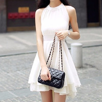White High Neck Mesh Ruffle Dress