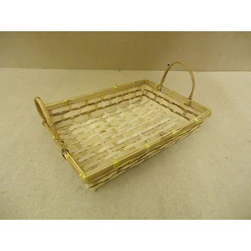 Standard Basket 15in W x 11in D x 6 1/2in H Natural Tone Handles Wood Wicker -- New